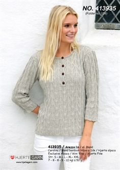 smart bluse strikket i blend eller arezzo fra Hjertegarn