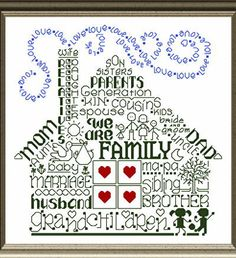 Lets Be Family - cross stitch pattern designed by Ursula Michael. Category: Words.