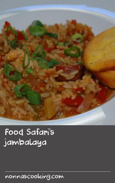 "Food Safari's jambalaya | A classic Creole dish, jambalaya from New Orleans is a true one-pot wonder blending French, African, Spanish and American influences. Make sure you use parboiled or ""converted"" rice when making this recipe. Serve with cornbread muffins for a hearty main meal."