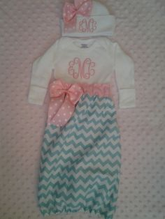 Chevron Baby Girl infant gown with ribbons, bows and monogram