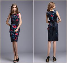 ATNI high quality! autumn and winter dresses women embroidery flower black OL Slim bodycon Vintage elegant Casual Dress-in Dresses from Women's Clothing & Accessories on Aliexpress.com   Alibaba Group