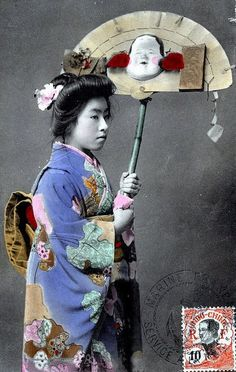 Young Geisha holding a Kumade 1916 by Blue Ruin1