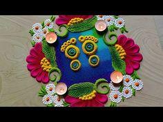 Small Rangoli Design, Rangoli Border Designs, Rangoli Colours, Rangoli Borders, Special Rangoli, Simple Rangoli, Handmade Flowers, Crochet Doilies, 2 Colours