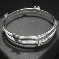 Flower and Heart Bangles. #jewellery #lwsilver #wedding #bangles #handmade #valentines