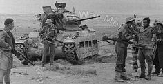 Australian troops recapturing a German A12 Matilda Mk2 with it's crew