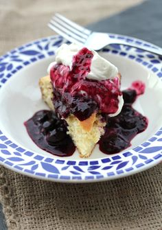 Buttermilk Cake with Homemade Blueberry sauce and whipped cream