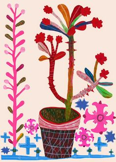 Potted plant and flowers illustration by Monika Forsberg. Art And Illustration, Botanical Illustration, Arte Popular, Arte Floral, Morris, Botanical Art, Love Art, Oeuvre D'art, Art Lessons