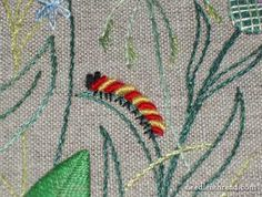 Hand embroidery: A hand-embroidered caterpillar made of bullion knots . French Knot Embroidery, Embroidery Leaf, Embroidery Monogram, Hand Embroidery Stitches, Hand Embroidery Designs, French Knot Stitch, French Knots, French Cuff, Embroidery Floss Projects