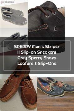 SPERRY Men's Striper II Slip-on Sneakers Grey Sperry Shoes Loafers & Slip-Ons Sperry Shoes, Loafer Shoes, Loafers, Sperrys Men, Slip On Sneakers, Boat Shoes, Grey, Sperry Sneakers, Moccasin Boots