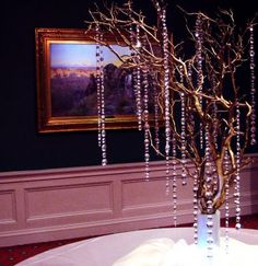 ooooh crystals and branches. nice touch! paint branches white