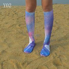 Ladies//Girls Dark Navy Blue Mermaids Ariel Cotton Tube Ankle Socks