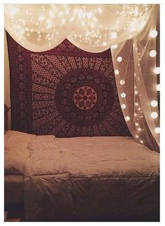 Canopy Bed with lights and tapestry