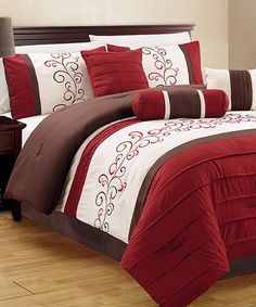 Another great find on #zulily! Burgundy Zafra Seven-Piece Comforter Set #zulilyfinds