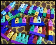 Finally something to do with all the scrapbook stickers I have but never use anymore.... about to do this with blocks but also eggs for our Busy Bags--- matching uppercase and lowercase!