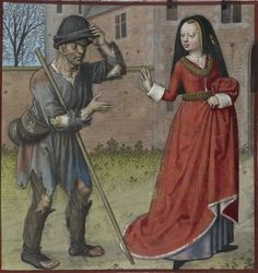 "Harley 4425: Roman de la Rose by Guillaume de Lorris and Jean de Meun, fol. 73r - ""Pauvrete (Poverty) and Richesse (Wealth)""  end of the 15th century (ca. 1490-1500) Netherlands - Bruges  London, British Library"