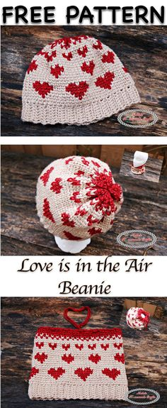 Crochet Beanie Ideas Love is in the Air Beanie - Free Crochet Pattern by Nicki's Homemade Crafts - The Love Is In The Air Beanie is very popular, super cute and easy to make. It includes the Waistcoat aka Knit stitch and has a video to explain it. Crochet Winter, Love Crochet, Knit Crochet, Easy Crochet, Crochet Beanie, Knitted Hats, Crochet Crafts, Crochet Projects, Crochet Stitches