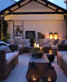 2 large lanterns at edge of table Exterior Design, Decor, House Styles, Home And Garden, Outdoor Decor, Outdoor Rooms, Outdoor Patio Decor, Beautiful Homes, Outdoor Design