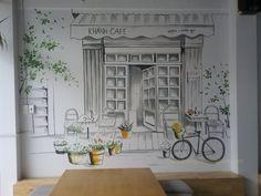 Kết quả hình ảnh cho trang trí tường quán cafe