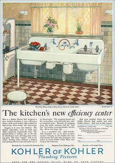 1928 Kohler Kitchen/but that sink needs an cute skirt don't like looking at the plumbing