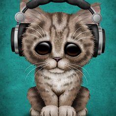 Cute Kitten Dj Wearing Headphones on Blue | Jeff Bartels
