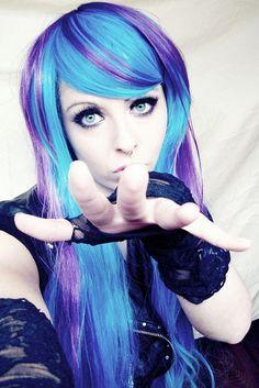 blue purple emo scene alternative hair style german girl site model bibi barbaric by ♥ BiBi BaRbArIc ♥, via Flickr