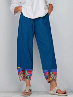 Women Vintage Print Patched Elastic Waist Casual Pant is necessary for cold weather, NewChic will show cheap trendy women Pants & Capris for you. Gorgeous Women, Amazing Women, Older Women Fashion, Cotton Pants, Denim Fashion, Clothes For Sale, Vintage Prints, Casual Pants, Elastic Waist