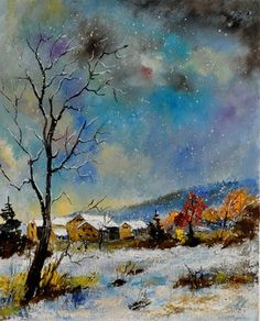 "Saatchi Online Artist Pol Ledent; Painting, ""winter scenery"" #art"
