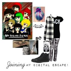 """""""Joining My Digital Escape!"""" by alexfabulouskilljoys ❤ liked on Polyvore featuring Uniqlo and Converse"""