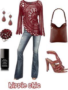 """""""Hippie Chic"""" by kat-alterego on Polyvore.  I absolutely love the deep red crochet sweater with it's off center circle shape and slightly flared ends on the long sleeves."""