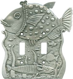 Check out Switch Hits for the best selection of decorative double toggle switch covers in a Fish Pond finish and more. Switch Plate Covers, Light Switch Plates, Light Switch Covers, Metal Crafts, Clay Crafts, Ceramic Pottery, Ceramic Art, Pond Lights, Clay Fish