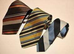 "VTG 40's 50's Tie Lot of 3, Jazz Rockabilly Swing Diagonal Stripe 2""- 3 3/4"" #Nobrandlabels #NeckTie"