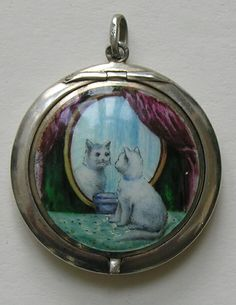 Swedish Enameled Cat Silver Rouge Compact