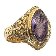 An amethyst English Bishop seal ring | From a unique collection of vintage signet rings at http://www.1stdibs.com/jewelry/rings/signet-rings/