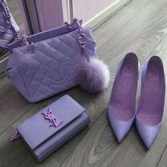 Lavender Chanel purse, YSL purse, and Louboutin heels