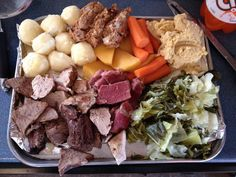 Wonderful Newfoundland scoff - Cabbage, Peas pudding, carrot, salt meat, turnip bread pudding, potatoes, roast pork..