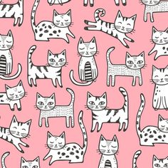 Cats with Stripes Pink fabric by caja_design on Spoonflower - custom fabric