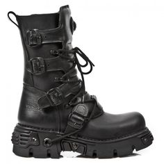 M.373-S18 Pure Black New Rock Boots on Reactor Soles