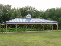 Dimensions: 30' W x 60' L x 10' H - Pavilion (ID# 086) Hip Roof 30' Scissor Trusses, 4' on Center, 4/12 Pitch  Colors: Siding Color: Brite White Roofing Color: Ocean Blue Trim Color: Ocean Blue  http://pioneerpolebuildings.com/portfolio/project/30-w-x-60-l-x-10-h-id-086-total-cost-contact-us  Or Call: 1-888-448-2505  Pioneer Pole Buildings, Inc. 716 South Route 183 Schuylkill Haven, PA. 17972