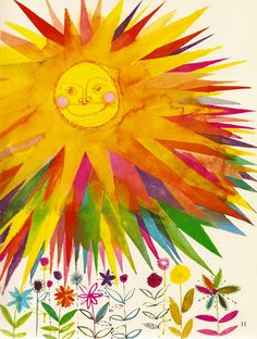 """A Child's Garden of Verses - """"Summer Sun"""" by Robert Louis Stevenson, illustrated by Brian Wildsmith We could make these of tissue paper. Sun Moon Stars, Sun And Stars, Good Day Sunshine, Happy Sunshine, Robert Louis Stevenson, Sun Art, Vintage Children's Books, Children's Book Illustration, Mellow Yellow"""