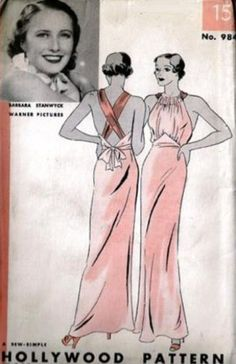 1930's Hollywood Pattern for glamorous evening dress. Pattern features a picture of a Hollywood starlet.