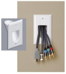 Wall Plate Single Gang Recessed Cable Pass Thru White Plates On Wall Tv Wall Design Wall Mounted Tv