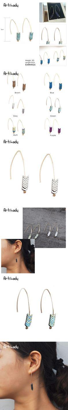 Artilady natural stone geometry shape earrings gold plated arrow design earrings for women jewelry
