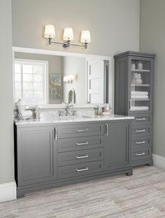 best bathroom decor 60 Fantastic Farmhouse Bathroom Vanity Decor Ideas And Remodel Bathroom Vanity Decor, Bathroom Interior, Modern Bathroom, Small Bathroom, Bathroom Stuff, Serene Bathroom, Grey Bathroom Cabinets, Gray Bathrooms, Costal Bathroom