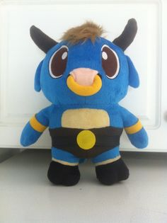 Plush version of Mino! Blue furred Teenage Minotaur and Hero of our new game: https://itunes.apple.com/us/app/a-maze-in/id837651901?ls=1&mt=8