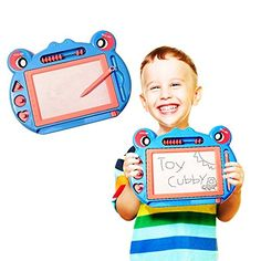 Drawing Tablet Toys - Toy Cubby Kids Home and Travel Magnetic Writing and Doodle Board Set Blue ** Read more reviews of the product by visiting the link on the image.