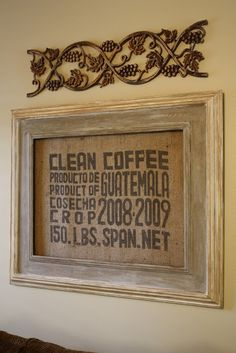Burlap Coffee Bag Wall Hanging For My Coffee Bar :)
