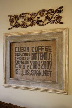 Burlap Wall Decor diy: burlap bags or coffee sacks can be used as wall artusing