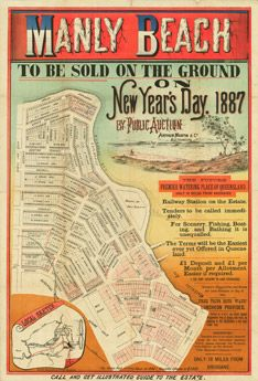 Estate map of Manly Beach to be auctioned by Arthur Martin and Co. on New Year's Day in 1887 - Manly, Brisbane, 1887 Vintage Maps, Vintage Travel Posters, Vintage Prints, Manly Sydney, Posters Australia, Manly Beach, Map Design, Sale Poster, Historical Maps