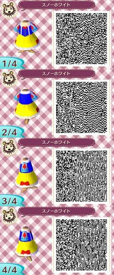 DISNEY'S SNOW WHITE. ANIMAL CROSSING NEW LEAF. QR CODE. ACNL. PINNED BY Stephy Sama