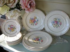 Shabby Chic Dinner Plates Crooksville China Co. by Fannypippin